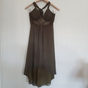 Olive Green Hi-Low Halter Dress Size Small